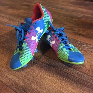 Under Armour Soccer Cleats 4 Blue Lime Pink